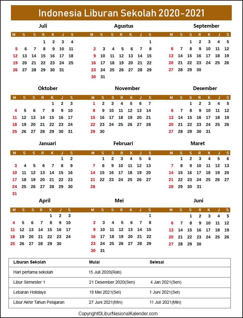 Sekolah Kalender 2020 Indonesia