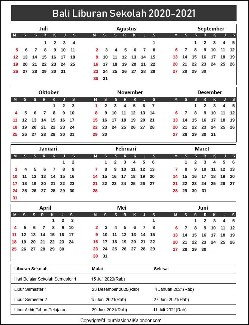 Bali Sekolah Kalender 2020-2021