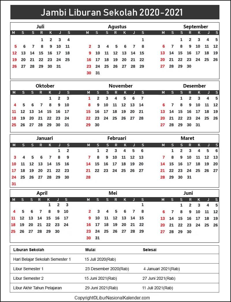 Jambi Sekolah Kalender 2020-2021