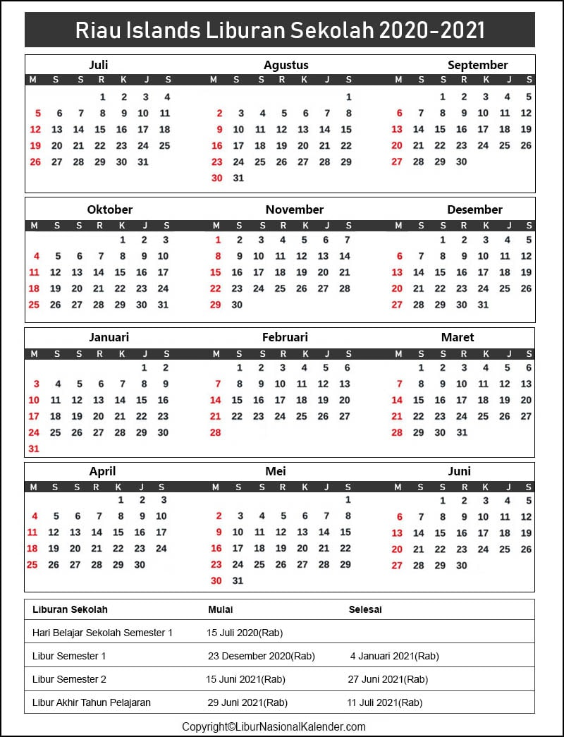 Riau Islands Sekolah Kalender 2020-2021