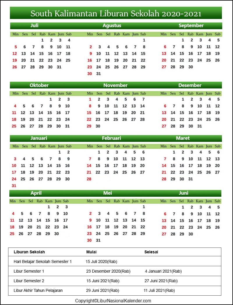 South Kalimantan Sekolah Kalender 2020-2021