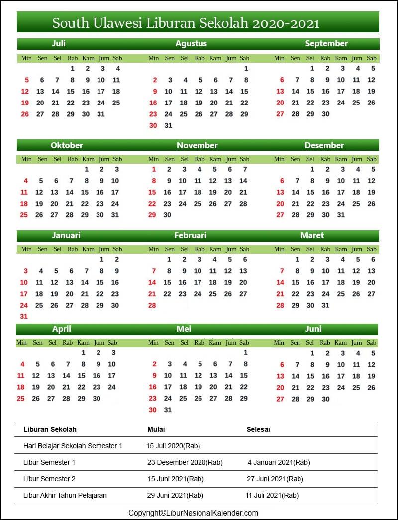 South Sulawesi Sekolah Kalender 2020-2021