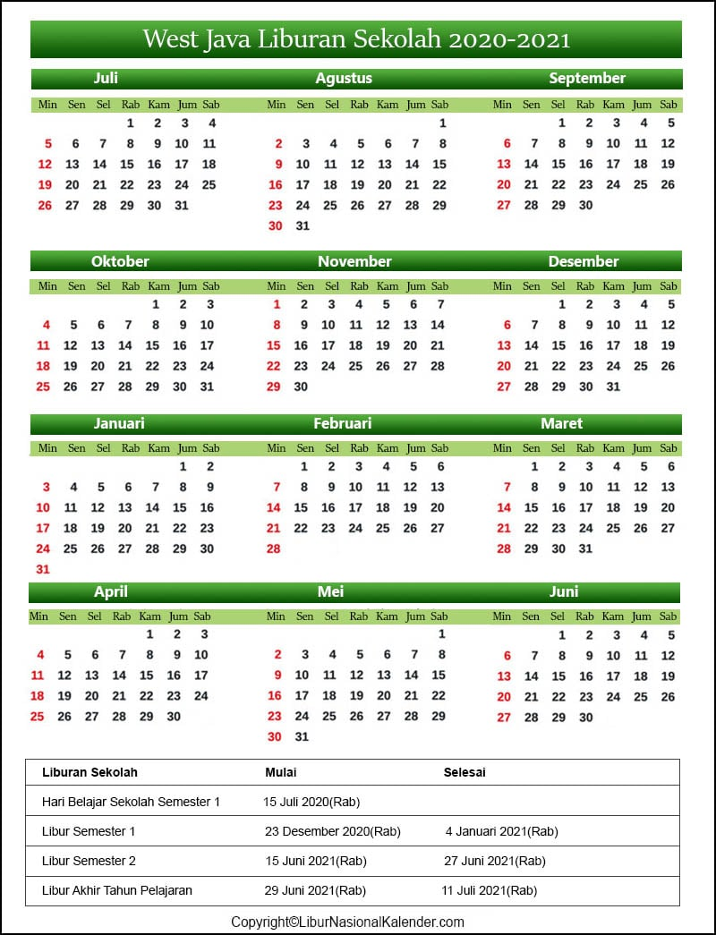 West Java Sekolah Kalender 2020-2021