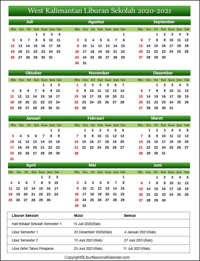 West Kalimantan Sekolah Kalender 2020-2021